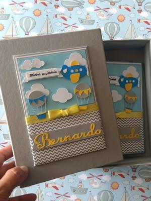 Álbum com caixa para fotos bebê menino balão scrapbook