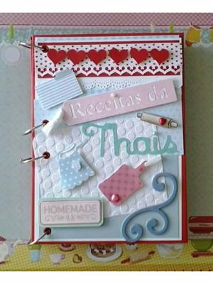 Caderno de Receitas para chá de cozinha vermelho azul rosa