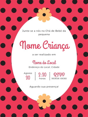 Convite Chá de Bebê Menina M002