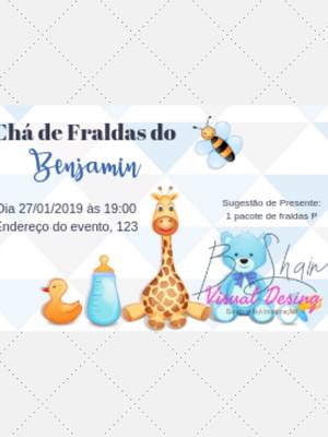 Convite Chá de Fralda Menino M001
