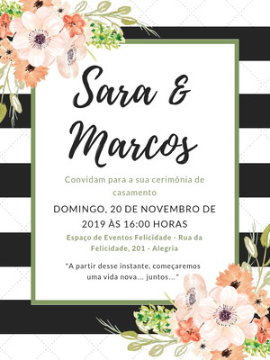 Convite de Casamento Floral - Arte Digital
