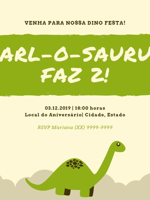 Convite Dinossauro Personalizado - Arte Digital