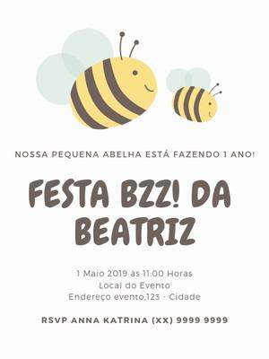 Convite Abelha Personalizado - Arte Digital