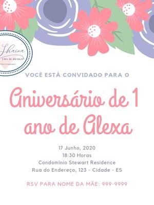 Convite Digital Floral Aniversário 1 ano