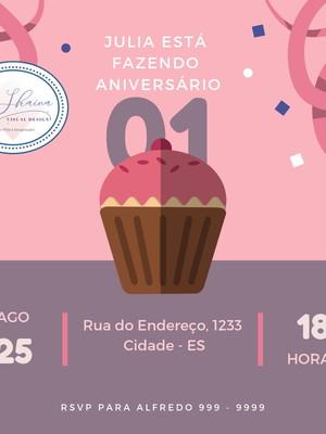 Convite Digital cupcake Aniversário 1 ano