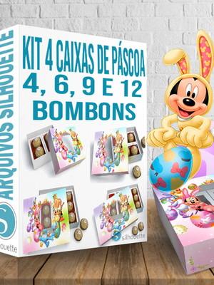 Arquivo Silhouette Kit 4 Caixas para bombons páscoa Mickey
