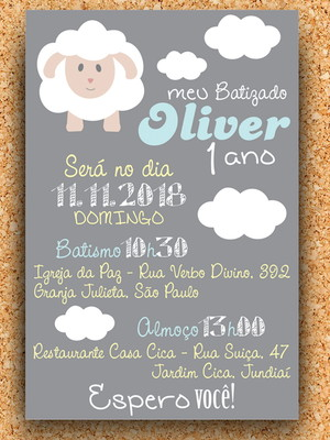 Convite Ovelha Batizado e 1 Ano - digital