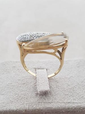 Anel de Ouro 18k com Quartzo e Diamantes