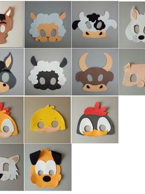 Máscaras para crianças de eva dos animais da fazenda .