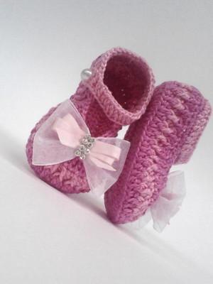 A405 Sapatinho Croche De Menina feminino rosa