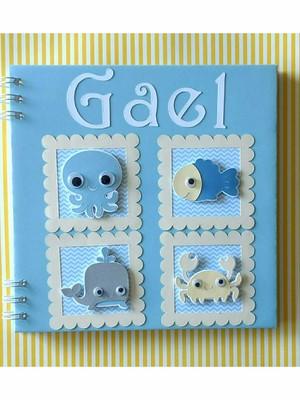 caderno álbum maternidade chá de bebê menino fundo do mar