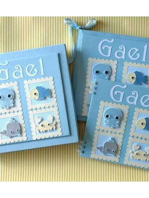 papelaria bebê caixa livro caderno mensagens fundo mar menin