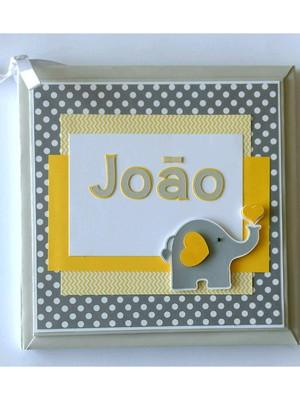 livro bebê personalizado elefantinho amarelo e cinza scrap