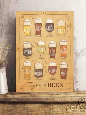 Quadro Decorativo Área de Lazer Cerveja - Types of Beer