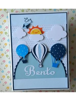 Álbum fotos personalizado menino scrapbook balões