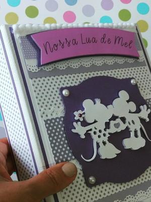 Álbum Personalizado com caixa fotos Lua de Mel lavanda