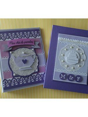 Álbum Personalizado com caixa fotos chá de panela lavanda