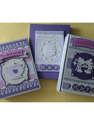 caixa e Álbuns Personalizados fotos chá panela e lua de mel