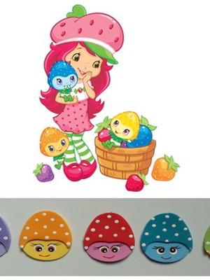 Apliques Moranguinhos coloridos de eva - kit com 25 unidades