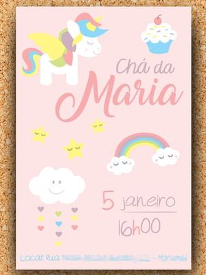Convite Chá de Bebê Unicórnio Rosa - digital