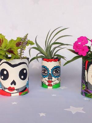 Frida Kahlo caveira | Kit com 3 latas