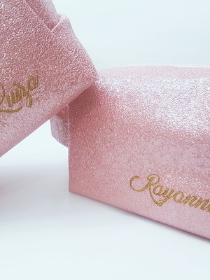 Necessaire Box M com alça - Shine Glitter - BORDADA