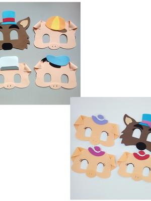 Máscaras infantis Lobo(a) e os Três Porquinhos(as) de eva.