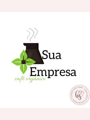 Logotipo Café Orgânico/ Cafê Pré-criada