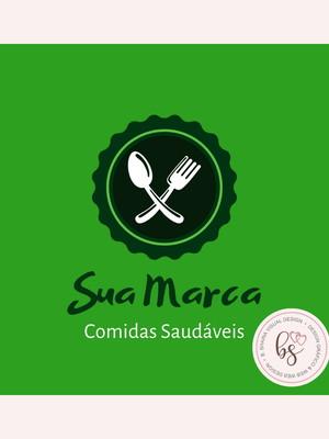 Logotipo Comida Saudável Pre-Criado