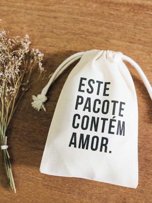 """Saquinho Algodão """"Contém Amor"""" - 10x15"""