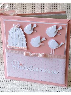 Diário Bebê personalizado menina Passarinhos scrapbook rosa