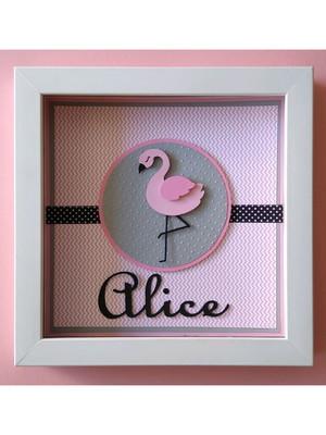 quadro enfeite porta maternidade bebê menina flamingo scrap