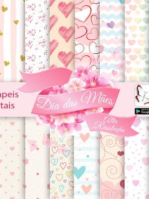 Kit 16 papeis digitais para Dia das mães