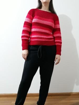 Blusa Tons de Pink em crochet