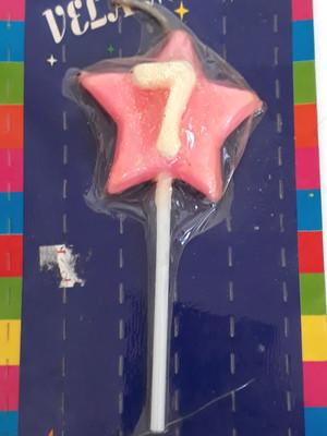 Vela Aniversario Estrela numero 7 - Rosa (01 unidade)
