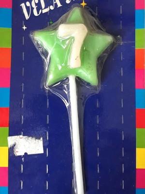 Vela Aniversario Estrela numero 7 - Verde (01 unidade)