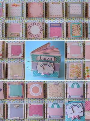 álbum fotos menina arco-íris páginas decoradas scrap
