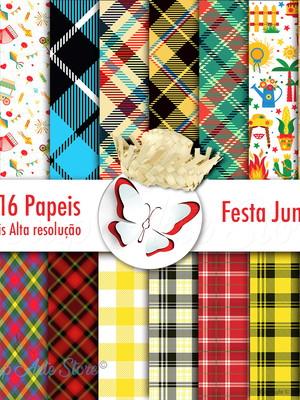 Kit 16 papeis digitais para festa junina