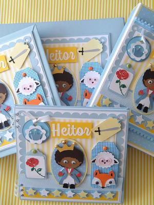 scrapbook kit 4 peç álbum bebê menino pequeno príncipe negro