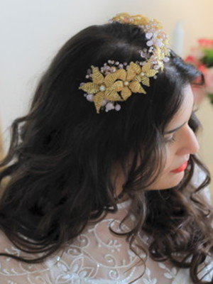 Tiara Coroa Noiva Flores Cristais Bridal Hair Vine Crown