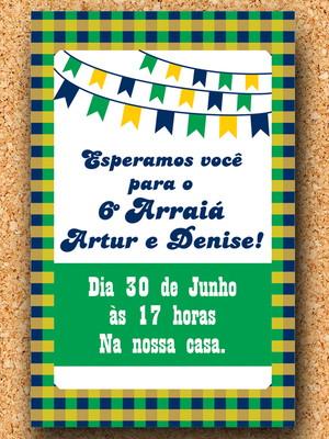 Convite Festa Junina Verde e Amarelo (digital)
