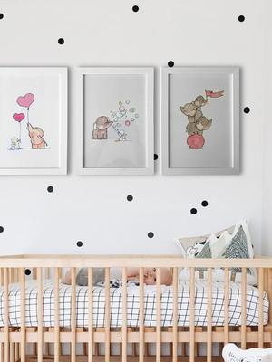 Kit 3 Quadros Infantil, Elefantinhos com Moldura e Vidro