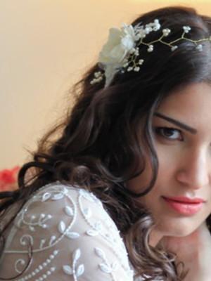 Tiara Videira Floral Pérolas Pedrarias - Bridal Hair Vine