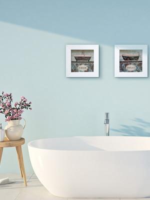 Kit 2 quadros brancos de banheiro, com Moldura e Vidro