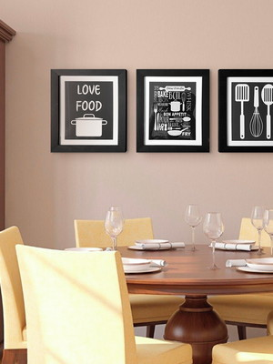 Trio de Quadros com Posteres para Cozinha , Moldura e Vidro