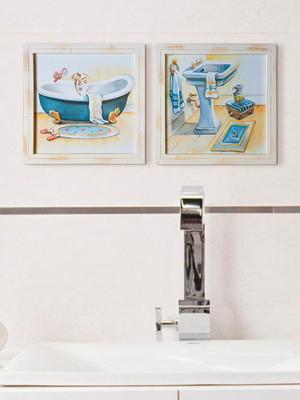 Kit 2 Quadros Brancos para Banheiro com vidro Tam 23 cm cada