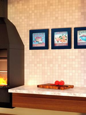 Trio de Quadros Vintage Moldura Preta para Cozinha com Vidro