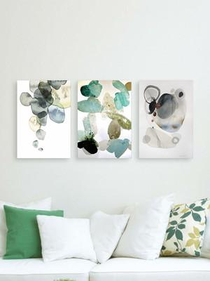 Kit 3 Placas Decorativas que Compõem uma Decoração Abstrata