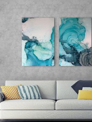 Kit 2 Placas Decorativas que Compõem uma Decoração Abstrata