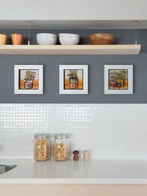 Kit 3 quadros brancos de cozinha com Moldura e Vidro